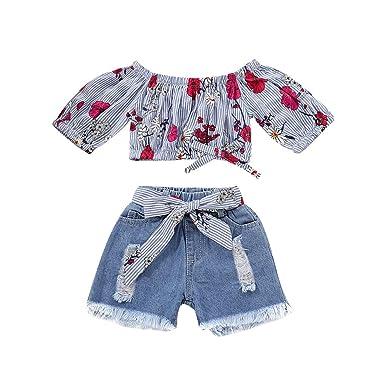 CARETOO Bebe Ni/ño Conjunto de Camiseta Pantalones Cortos de Manga Corta con cord/ón a Rayas de Verano para ni/ño 2 Piezas