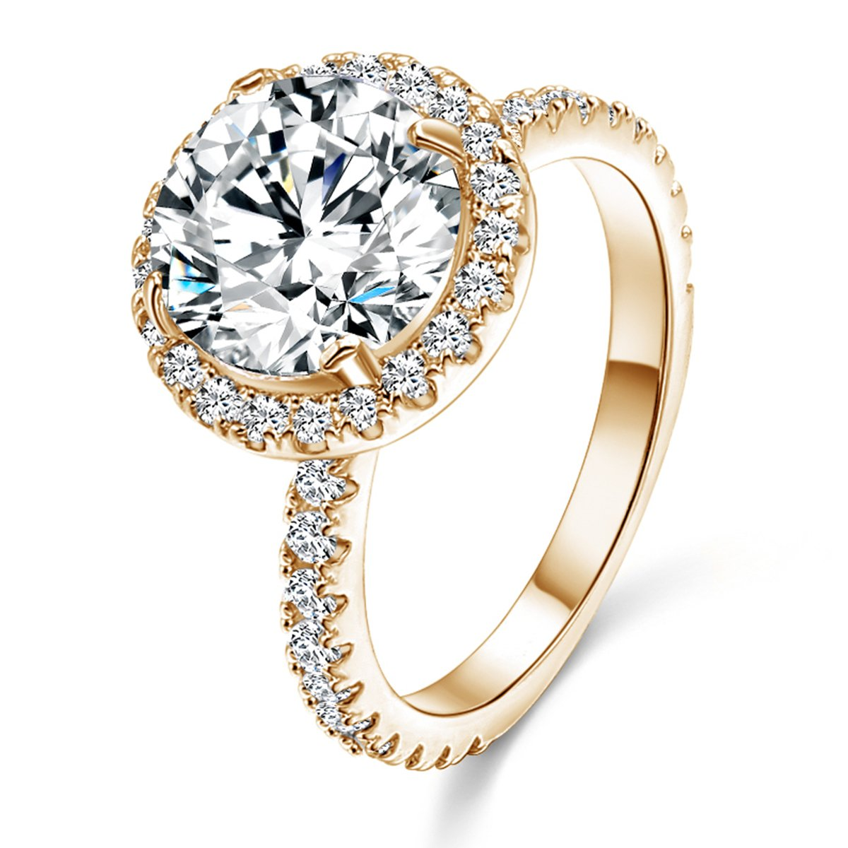 Jiangyue Halo Big Stone Rings For Women AAA Cubic Zirconia Champagne Gold Plated Sparkling Brilliant Ring Party Wedding Jewelry Size 10