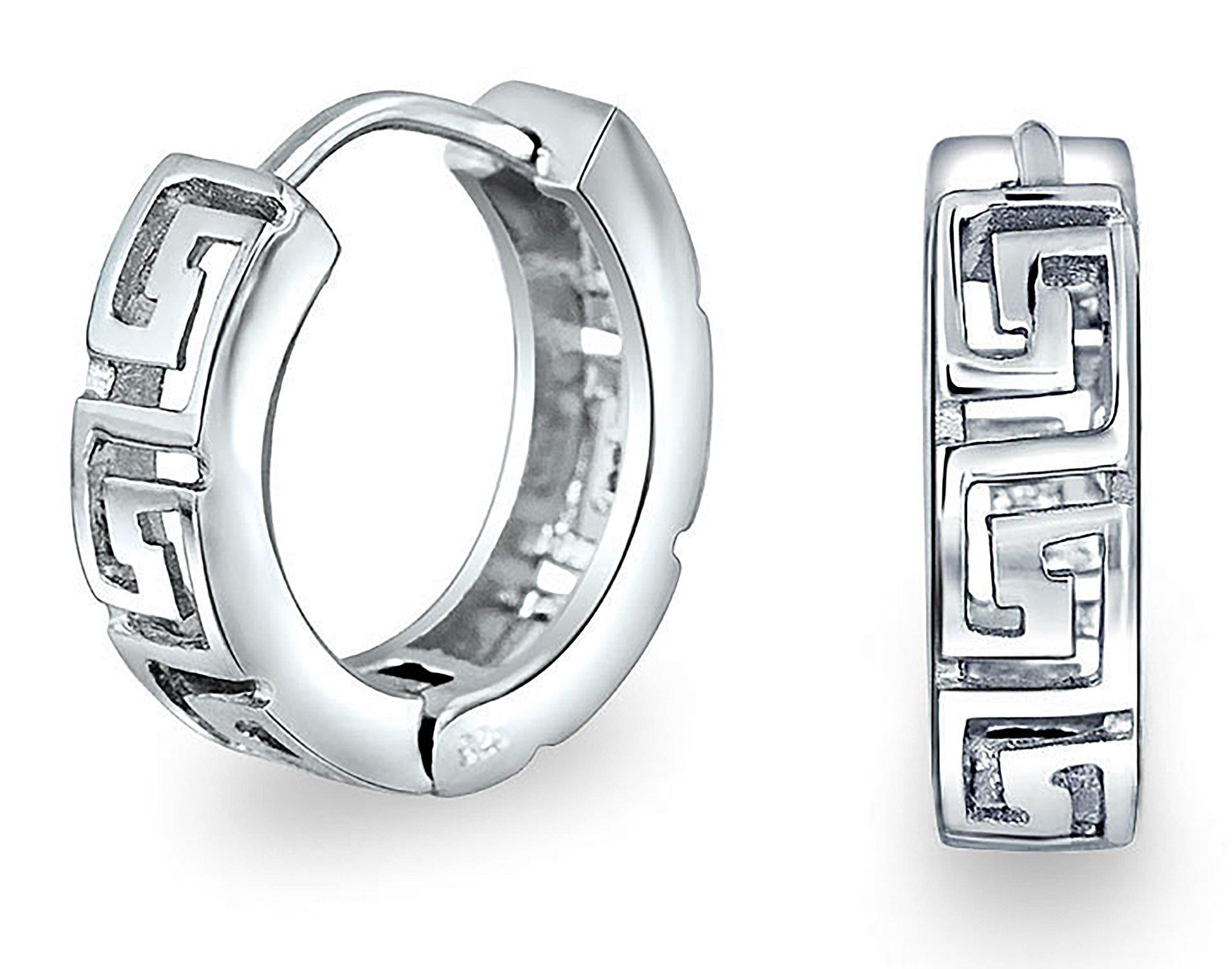 .925 Silver Greek Key Huggie Hoop Earrings Rhodium Plated
