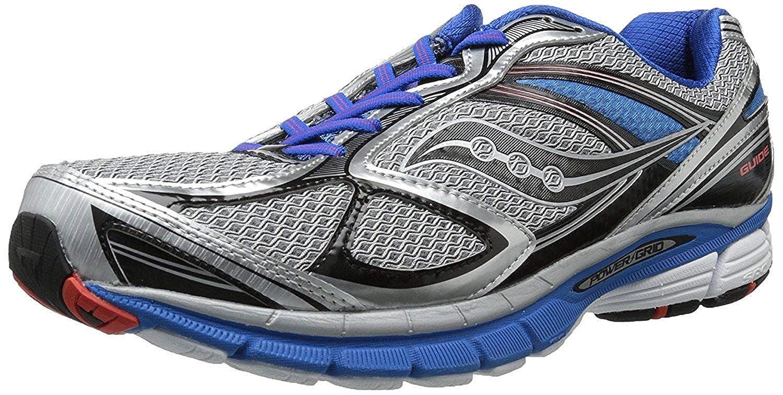 Saucony Men's Guide 7 Running Shoe, SilverBlueBlack, 14 2E