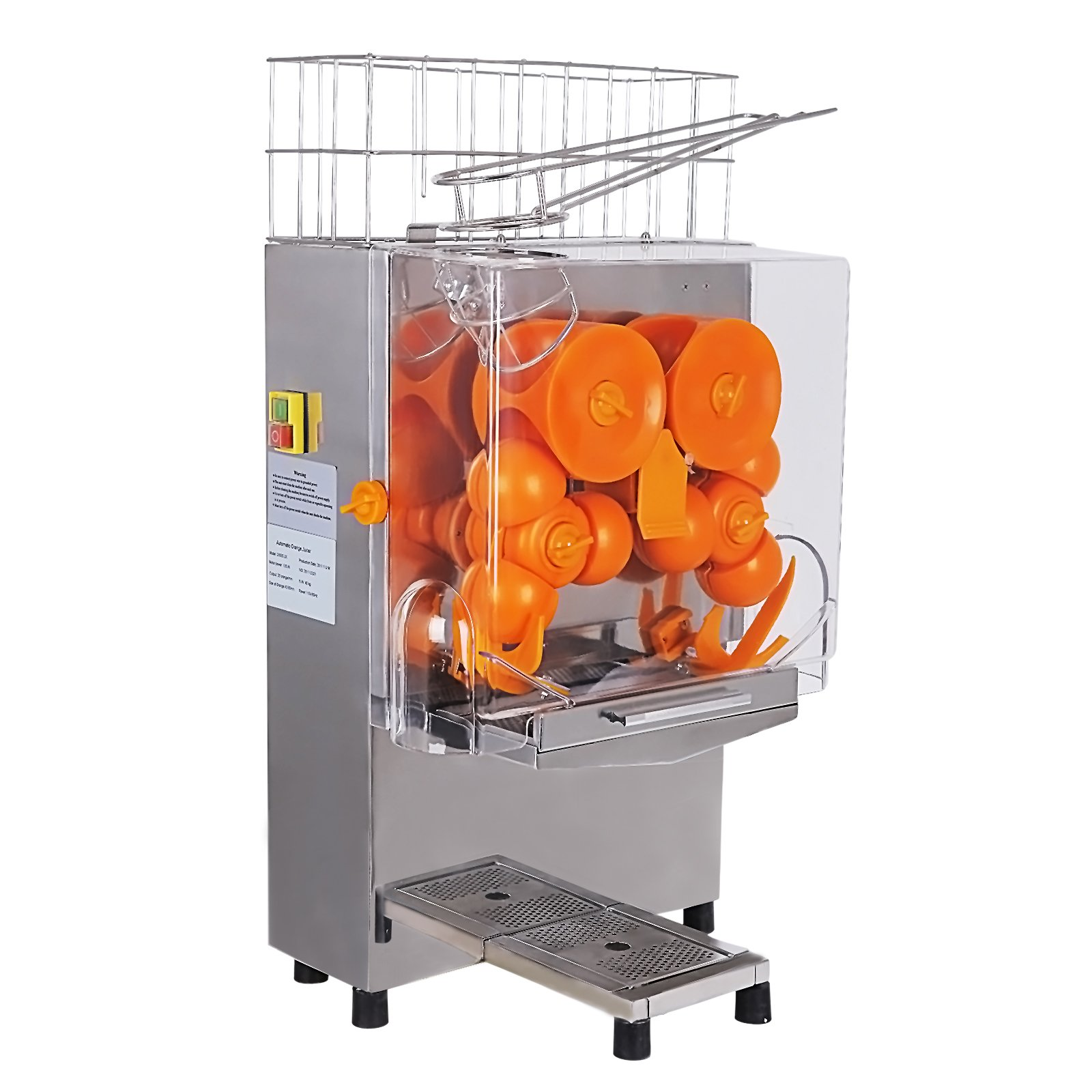 SUNCOO Electric Orange Squeezer Juice Extractor Lemon Lime Citrus Machine for Commercial Use-Auto Feed,Floor Standing,20 Oranges / Minute,Stainless Steel Tank