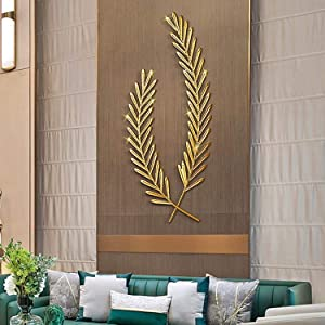 qwertyuio Wall Clocks for Living Room Gold Wheat Leaf Wall Art, Two Stems Wheat Stalks, Home Metal Wall Decor, Contemporary Wheat Ears Iron Hanging Ornament 30