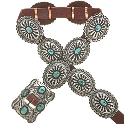Amazon Navajo Genuine Turquoise Concho Belt Hammered