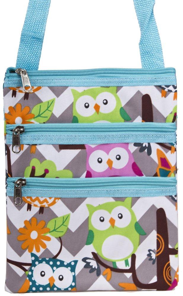 Chevron Owl Small Hipster Cross-Body Bag (Teal Blue)