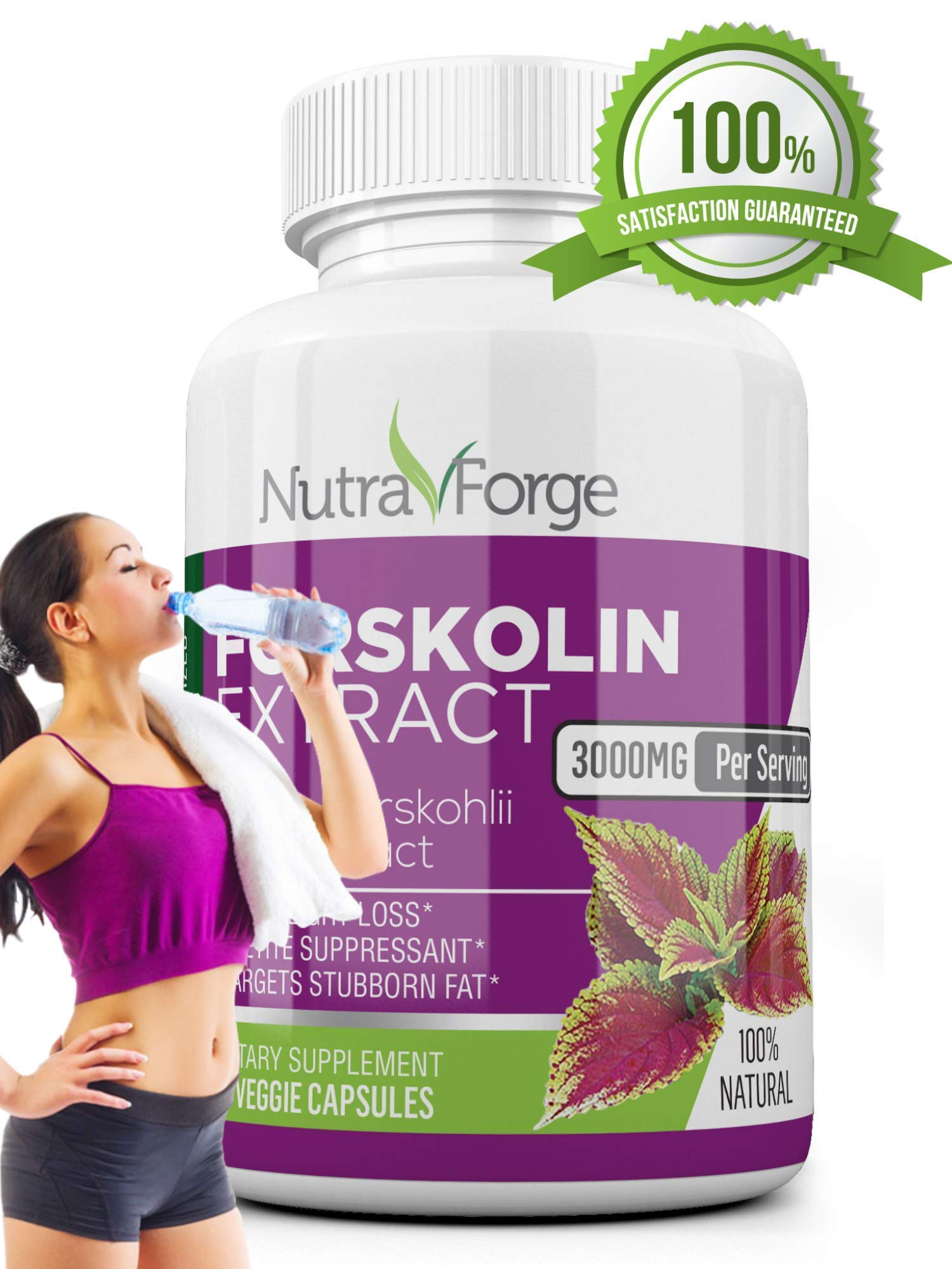 Pure Forskolin 3000mg Max Strength - Forskolin Extract for Weight Loss - Premium Appetite Suppressant, Metabolism Booster, Carb Blocker & Fat Burner for Men and Women - 3 Pack by Nutra Forge (Image #3)