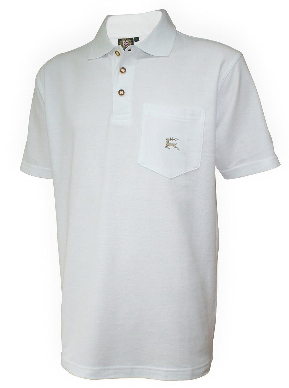orbis Textil Poloshirt Trachtenhemd Trachten-Hemd Trachtenpolo Trachten-Shirt Polohemd weiss Polo Trachtenshirt mit Brust-Tasche und Hirsch-Stickerei
