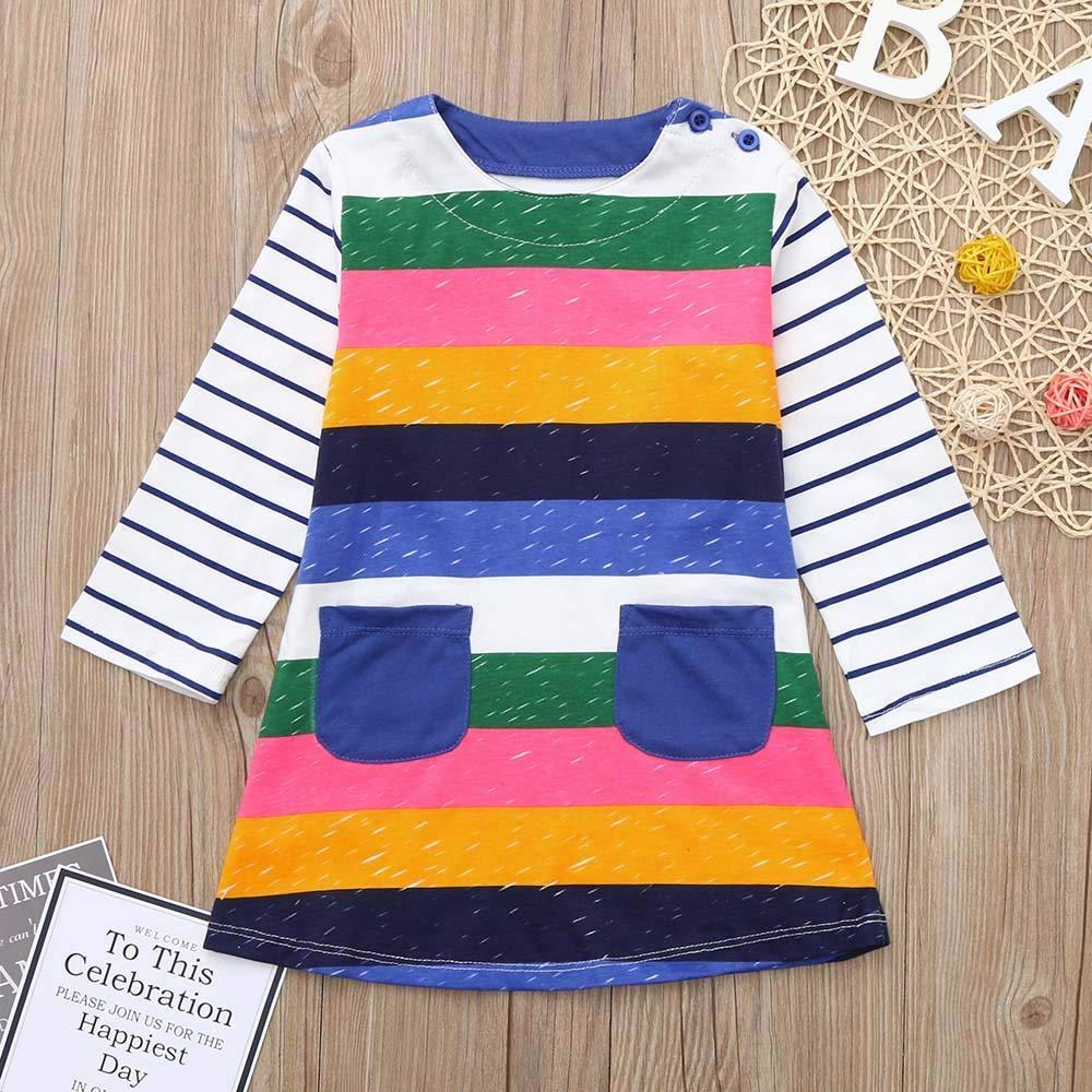 OCEAN-STORE Children Kids Girls 18 Months-7T Long Sleeves Cartoon Rainbow Stripe Dress Clothes Outfit