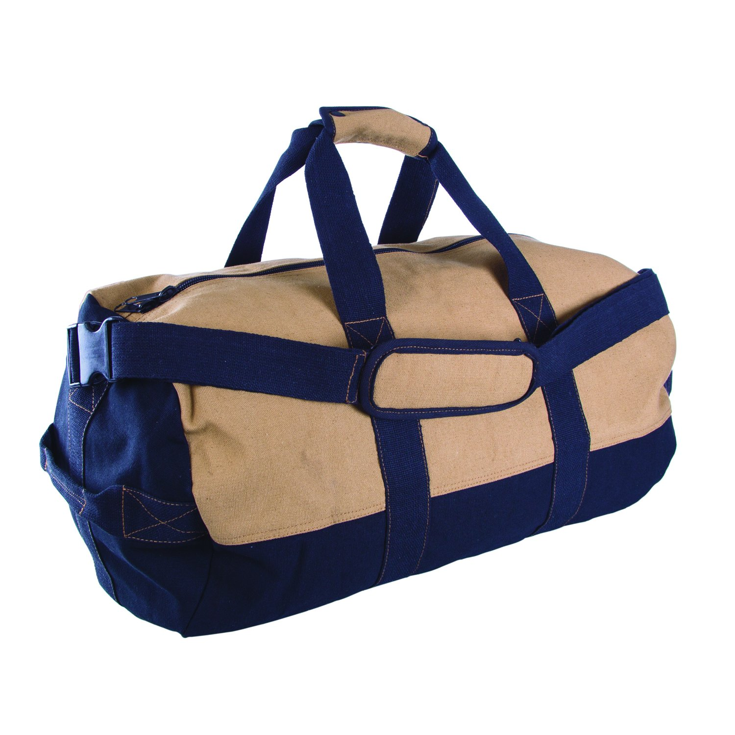 Stansport Two-Tone Canvas Duffle Bag with Zipper, 14 x 24-Inch
