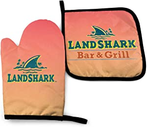 Stef 1 Fiaya Landshark Lager Beer Waterproof Polyester Fabric Set of Oven Mitt (7.5 Inch by 11 Inch) and Pot Holder (8 Inch by 8 Inch).
