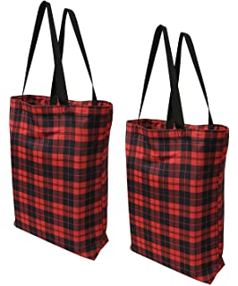 af9c80554 Earthwise Plaid Everyday Reusable Fashion Shopping Bag Tote Large for  Grocery Gift Vacation 17 inches x