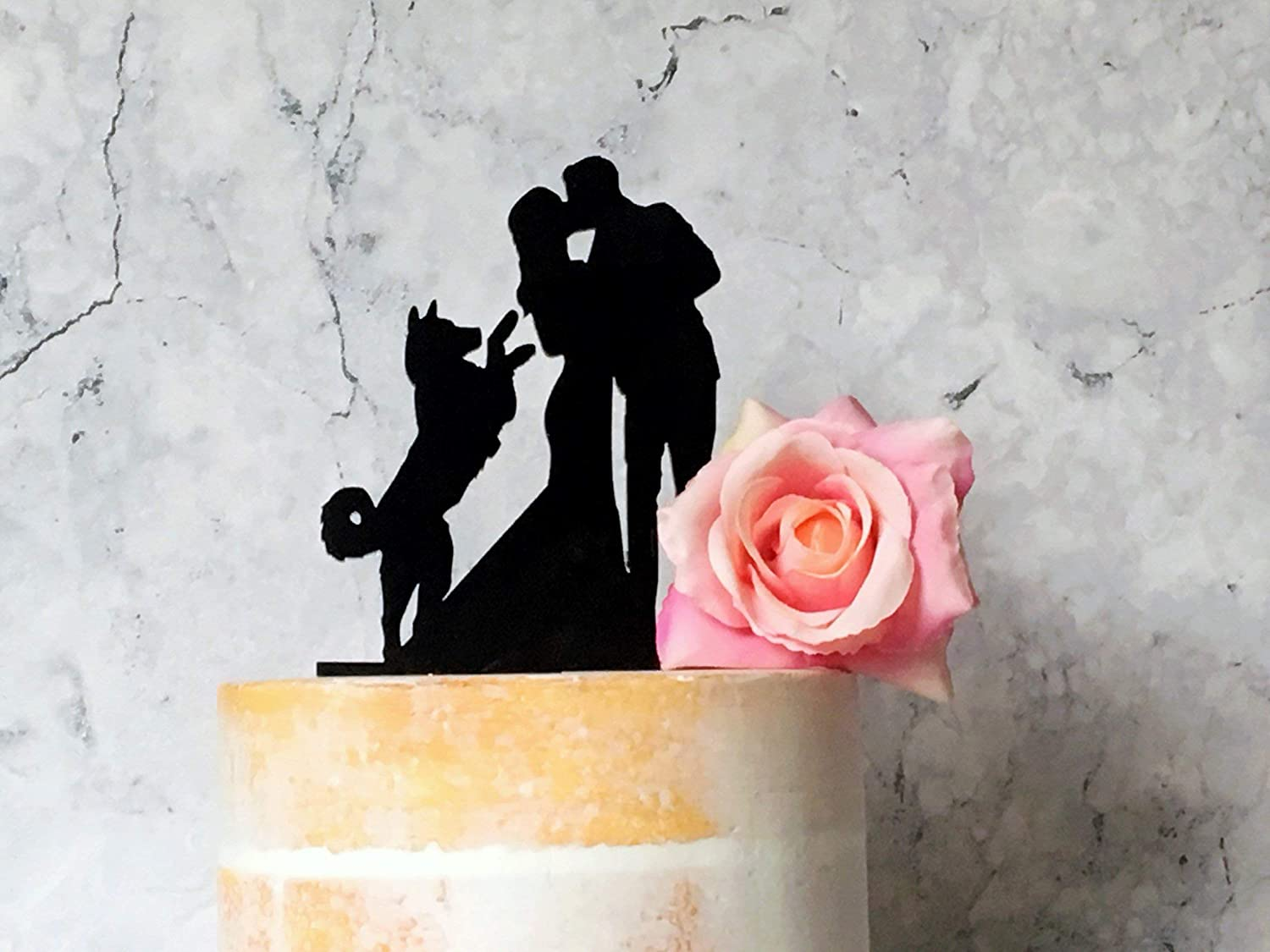 Silhouette Wedding Cake Topper With Husky Wedding Cake Topper With