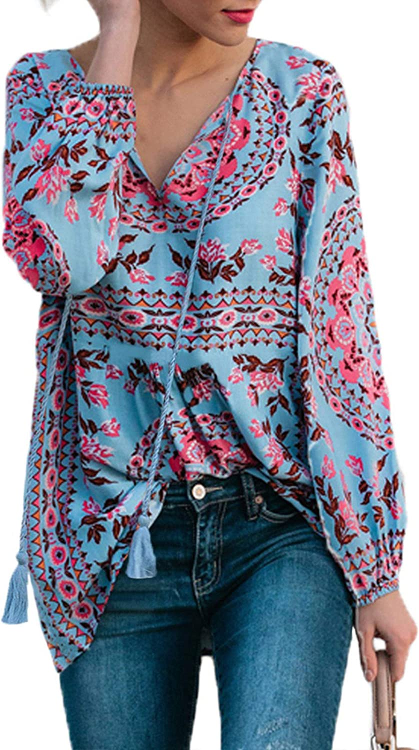 Hadeflia Plus Size Womens V Neck T Shirt Ladies Casual Longsleeve Cotton Tops Button Down Shirts Loose Blouses with Pocket
