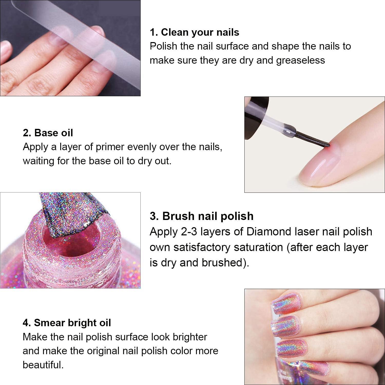 Ownest Holographic Nail Polish, Gorgeous Glossy Holographic Halo Glitter Polish Nail Art Nail Pigment Diamond Laser Nail Polish -LS06 : Beauty
