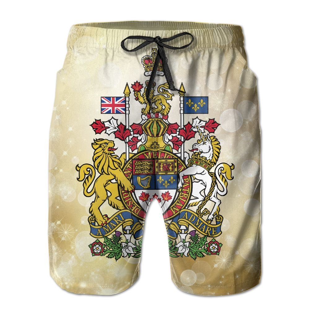Qinf New Cartoon Fashion Coat Of Arms Of Canada Shorts Beach Casual Shorts For Man