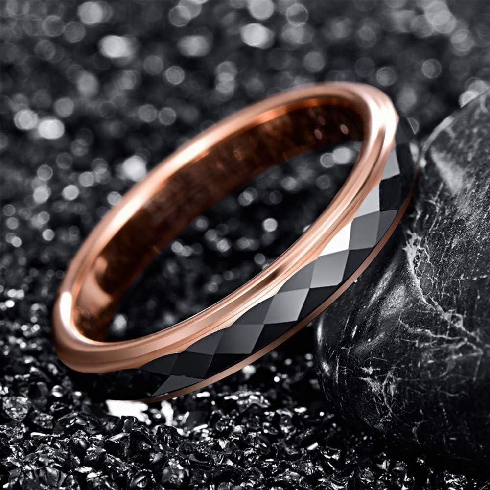 Finition Rose Comfort Fit 49 /à 62 TUNGSTORY Bague de Mariage en Tungst/ène pour Femmes 4mm /à Facettes 15.6-19.7
