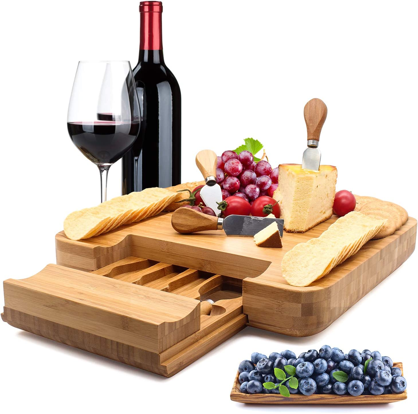 Esup Bamboo Cheese Board Set Cheese Plate With Integrated Slide-Out Drawer and 4 Specialist Cheese Knives Set, 13'' x 13'' Perfect Christmas Gifts Thanksgiving Gifts