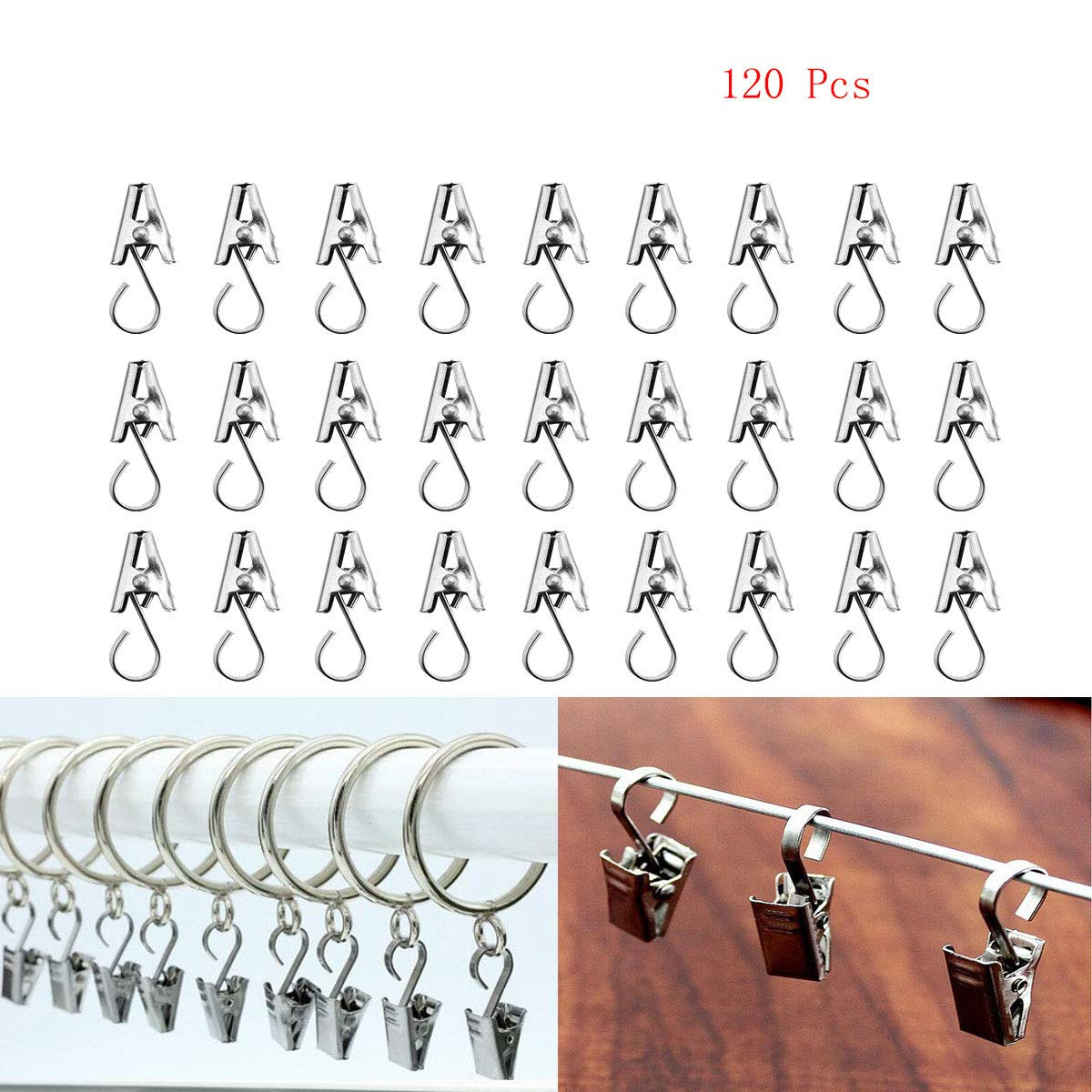 120 Pcs Stainless Steel Heavy-Duty Shower Curtain Clip Hook String Party Lights Hanger Wire Holder Photos, Bedroom, Bathroom, Home Decoration, Art Craft Display