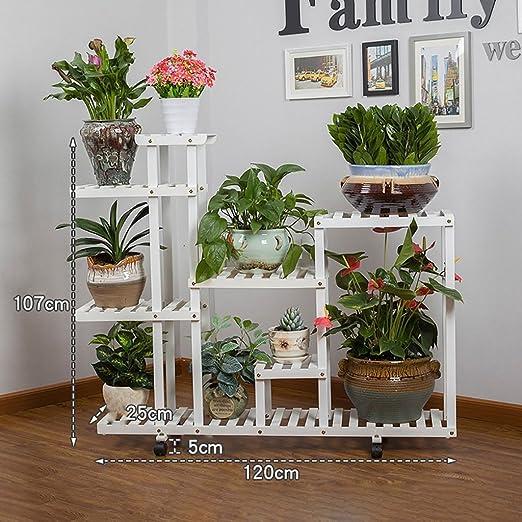 Pergolas / Estante de flores balcón de madera para montaje en suelo de madera maciza multipiso para