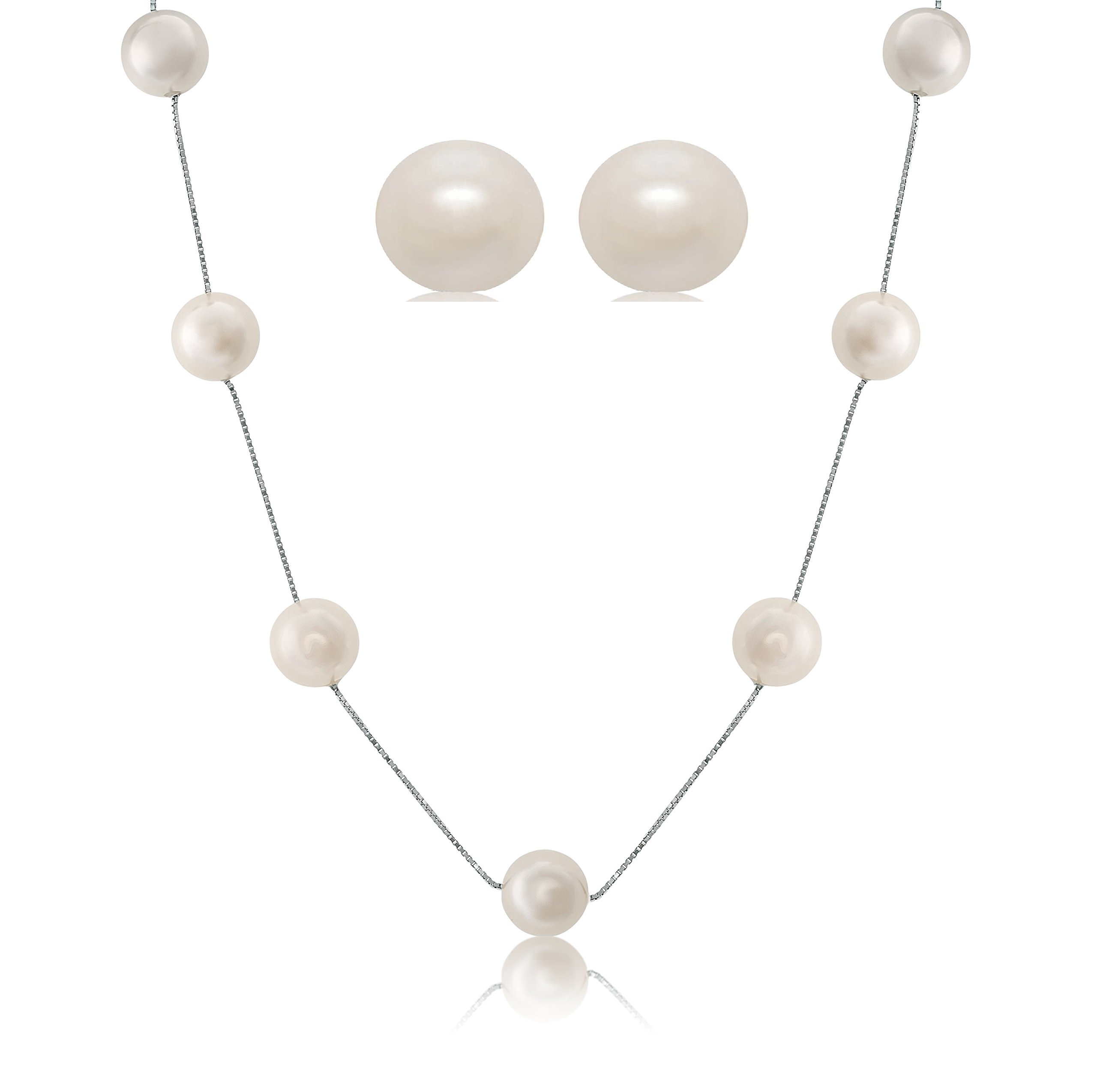 Sterling Silver White Shell Pearl Station Necklace Earrings, Gift Boxed Set (11-12 mm)