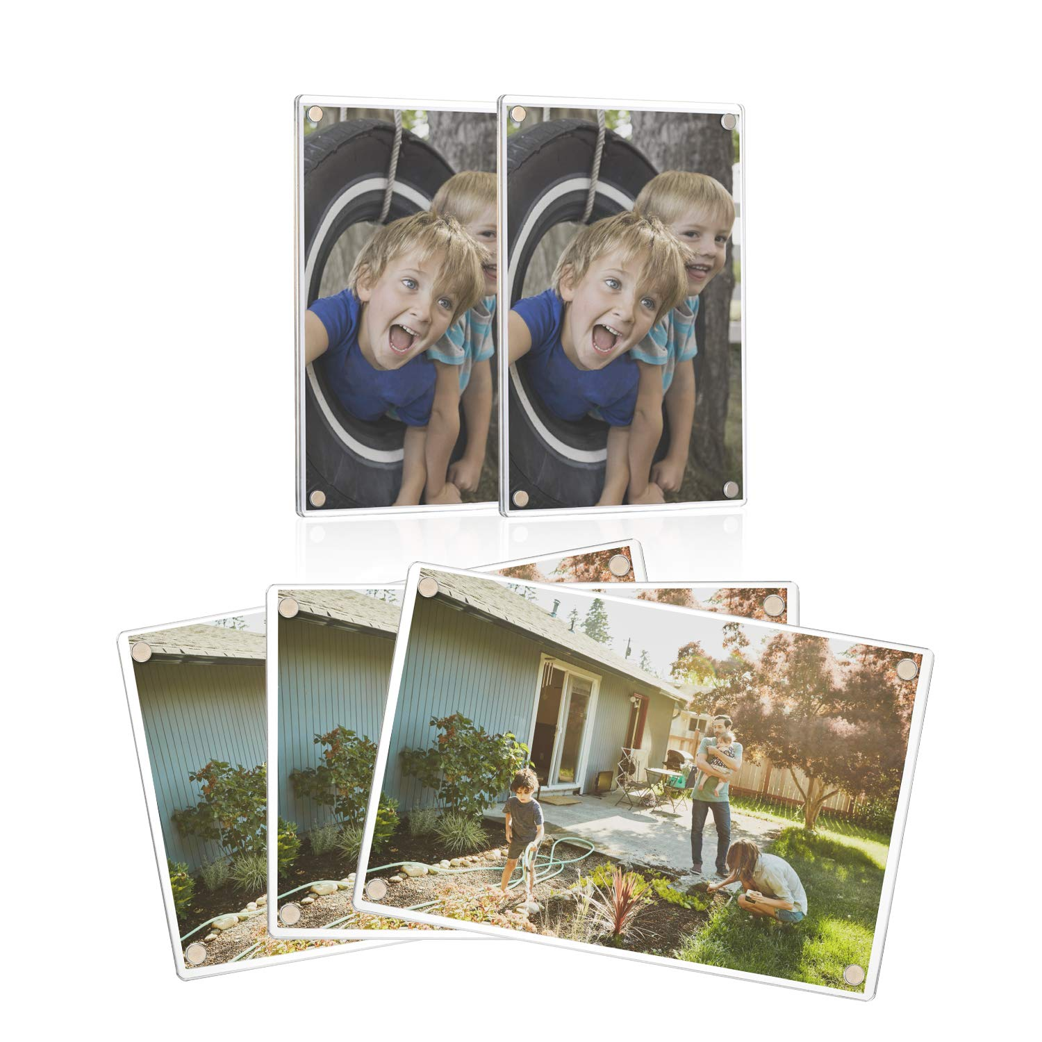 ONE WALL 4x6 Inch Acrylic Fridge Magnetic Frame, 5 PCS 2-Sided Photo Refrigerator Magnets Picture Frame for Photos, Tickets, Business Cards, Notes, Memos, Paintings Display