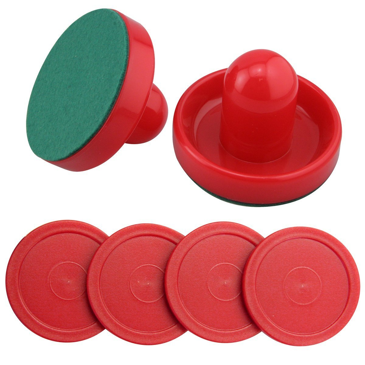 Ellen Tools Set of Two Red Air Hockey Pushers and Four Red Pucks -- Small Size for Kids ! Offered