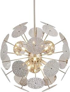 Fivess Lighting 12-Light Modern Sputnik Chandelier Brushed Nickel with Bulbs, Adjustable Rods Globe Pendant Lighting Fixture for Dining Room Kitchen Island Foyer Table Farmhouse