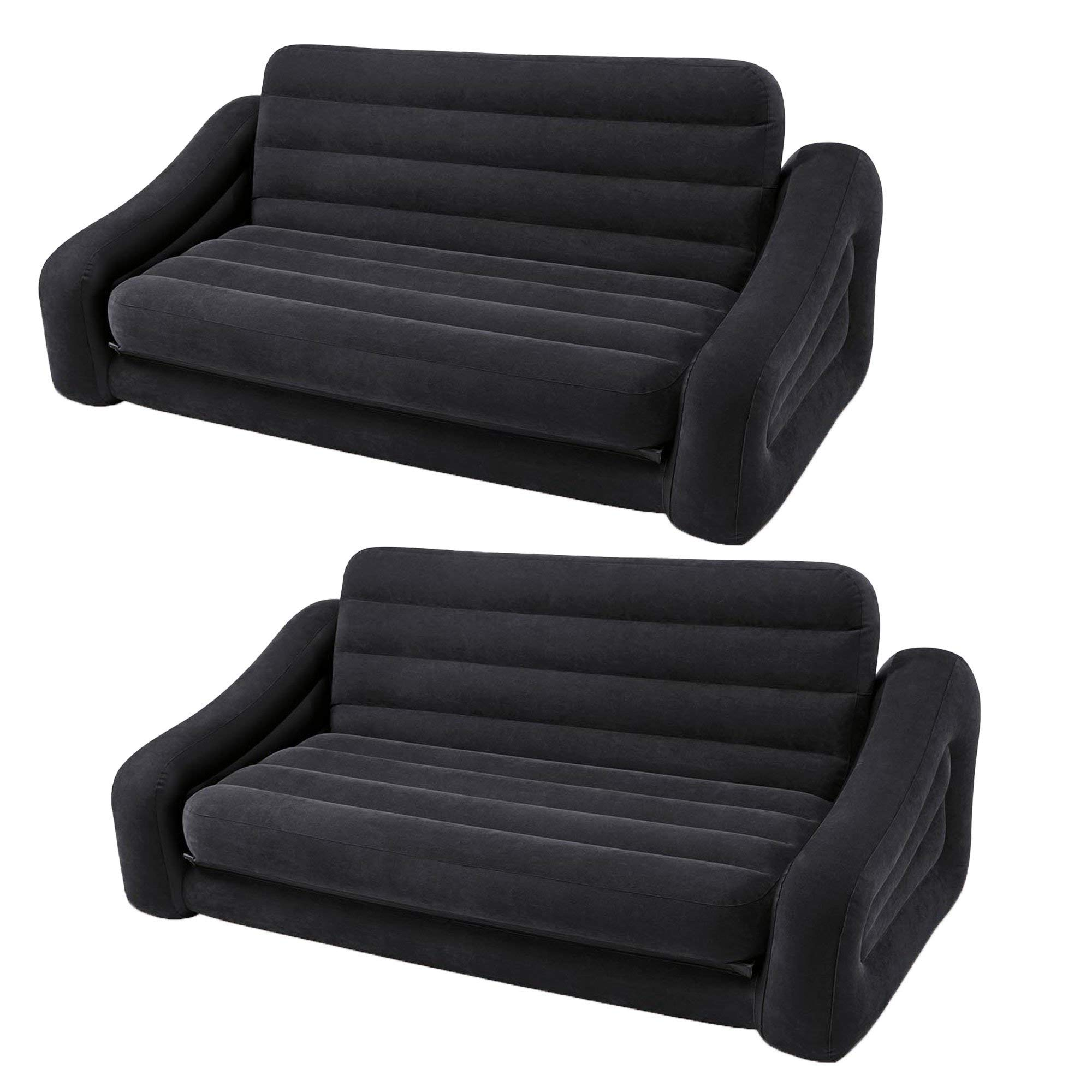Intex Inflatable Queen Size Pull Out Futon Sofa Couch Bed, Dark Gray (2 Pack)