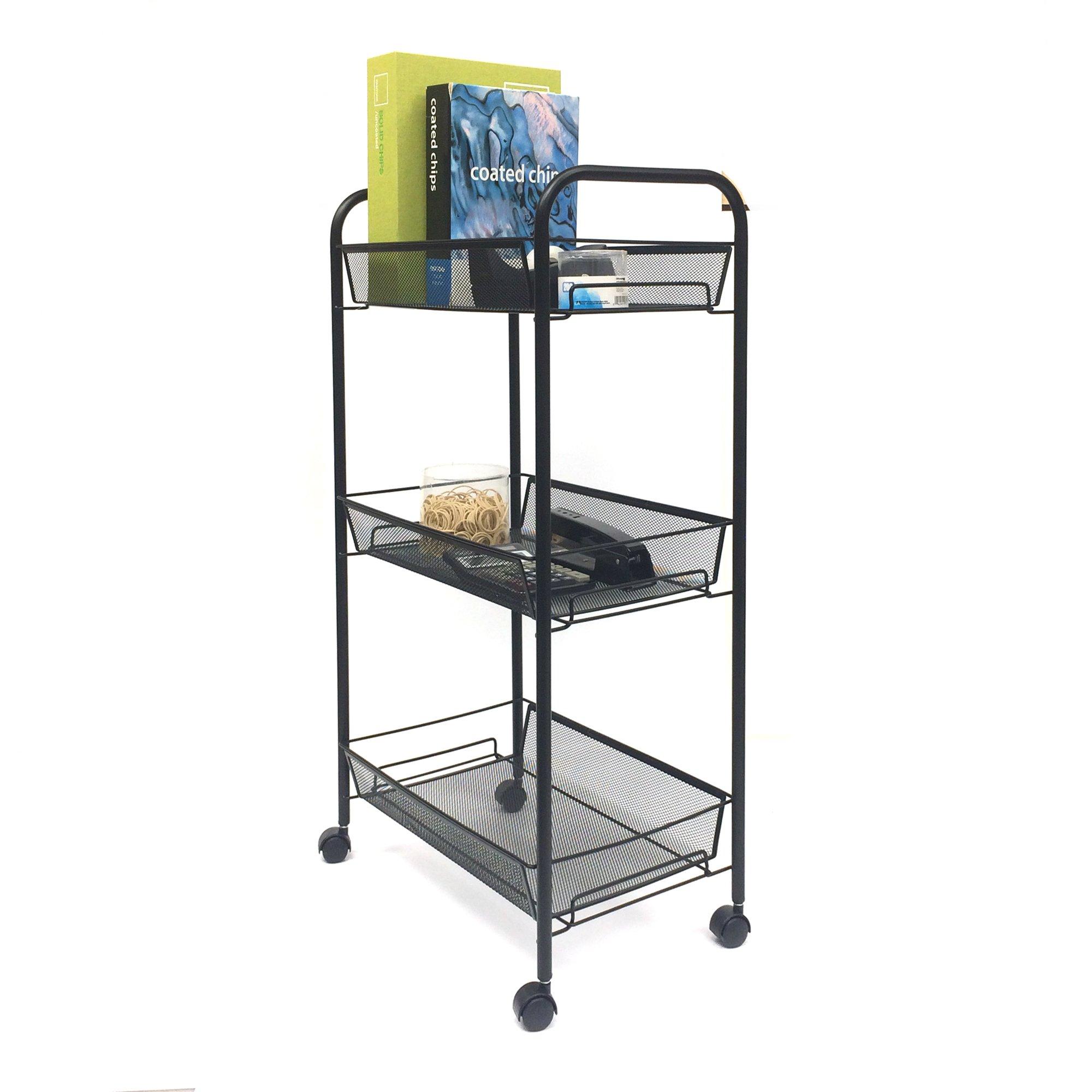 Mind Reader Rolling Metal Mesh 3 shelf Utility Cart, Black, Tier