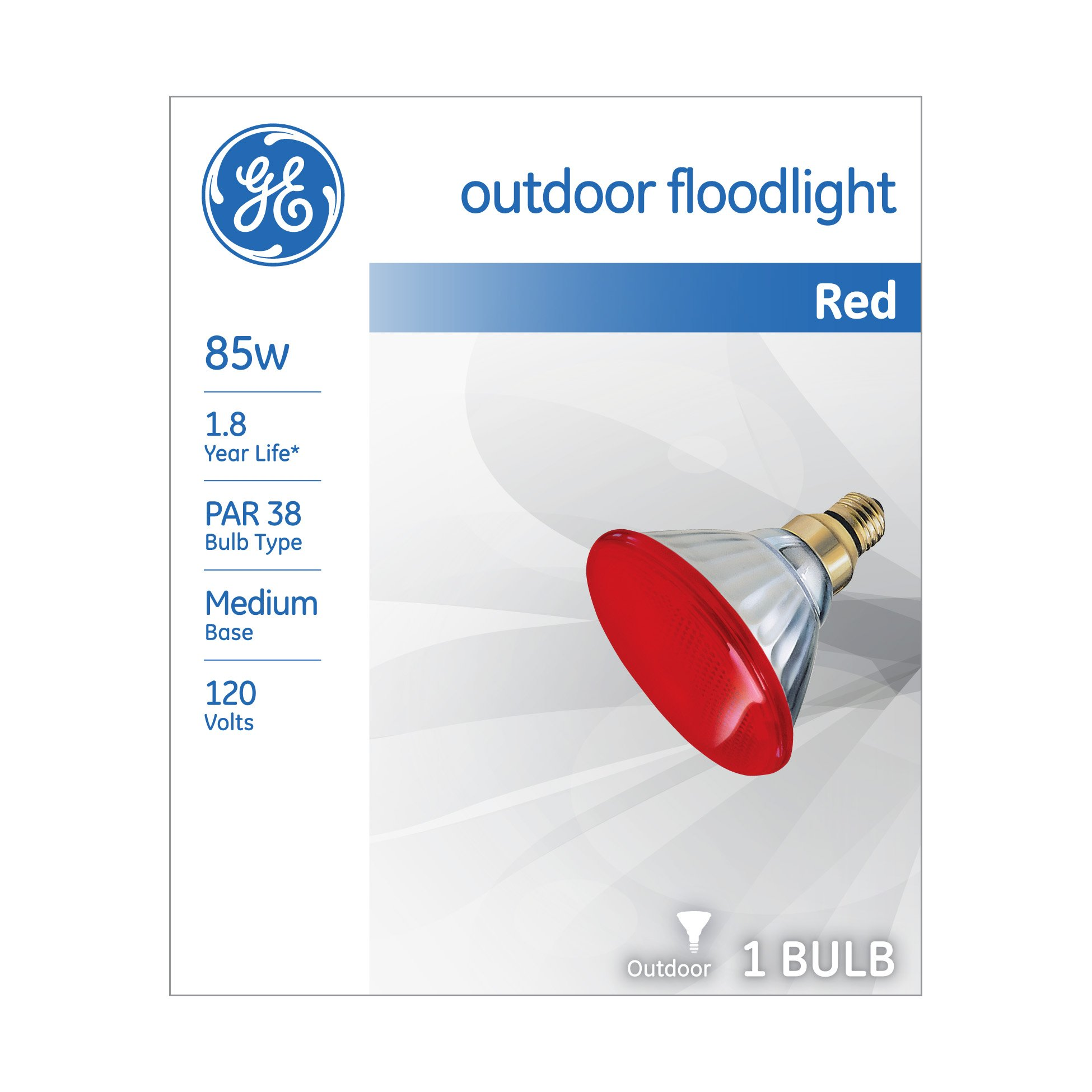 GE Lighting 13472 85-Watt Outdoor PAR38 Incandescent Light Bulb, Red