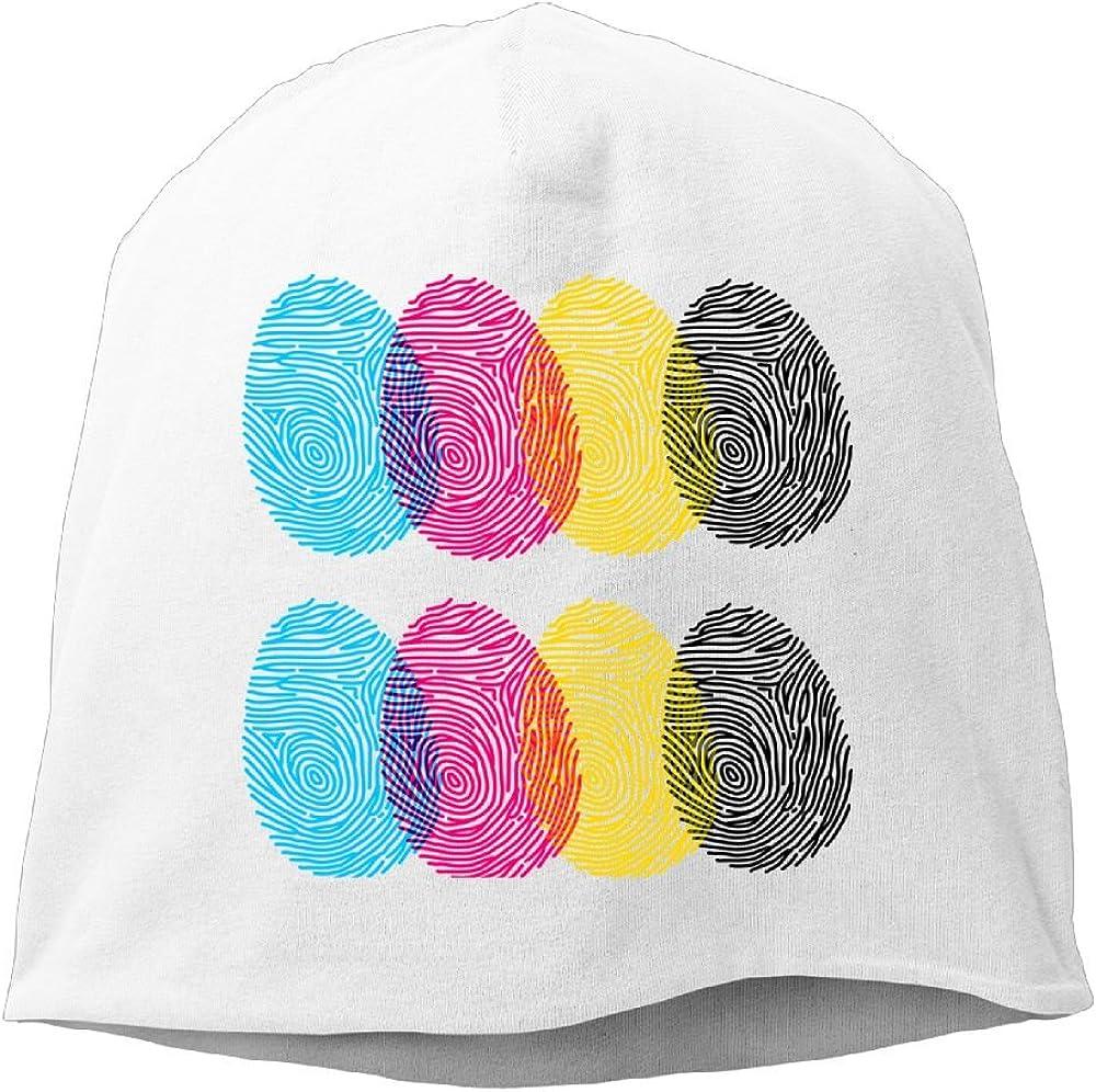 Reteone Fashion Solid Color Cool Art Fingerprint Beanie Cap for Unisex Pink One Size