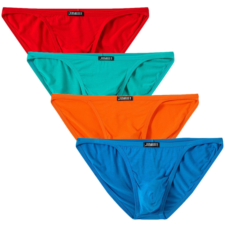 Jinshi Mens Bikini Briefs Low Rise Tagless Bamboo Underwear newjinshi203