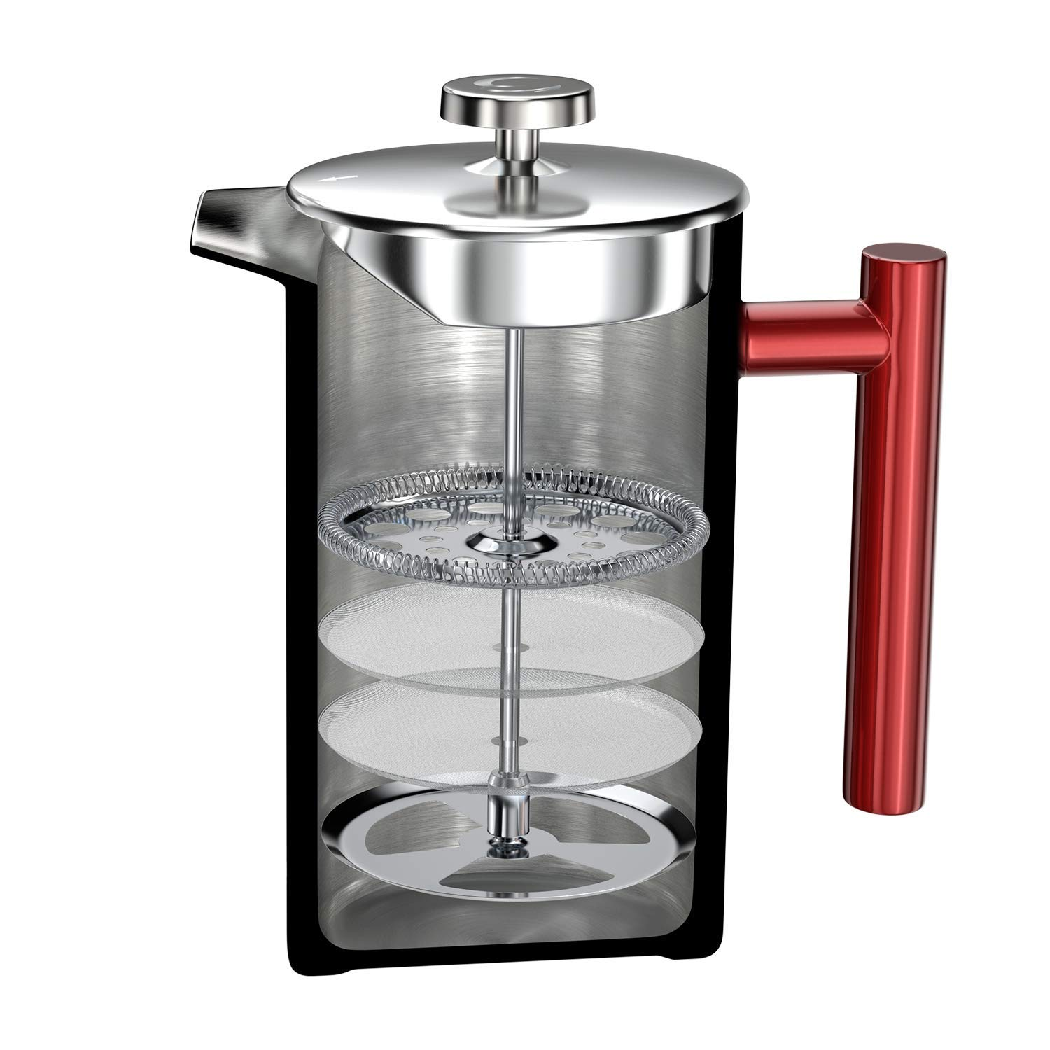 French Press Coffee Maker – 34 oz, Double-Wall 304 Stainless Steel Vacuum Insulated Tea Brewer Pot with 4 Level Filtration System – Extra 2pcs Filters Included – 8 Cup 1000ml Red