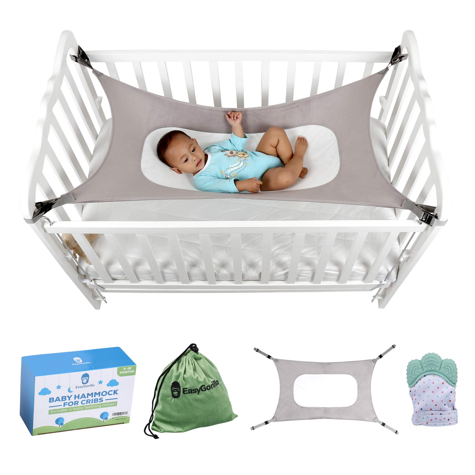 Baby Crib Hammock by Easy Gorilla - Newborn Bed Sleeping Essentials for Boys and Girls - Breathable and Portable - Infant Sleep Comfort Gifts for Indoor Cot - Cradle - Safety Mesh Nursery Nap Hammocks by EasyGorilla (Image #1)