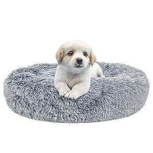 SHU UFANRO Dog Beds for Medium Small Dogs Round, Cat Cushion Bed, Pet Beds Cozy Fur Donut Cuddler Improved Sleep, Washable(Multiple Sizes)