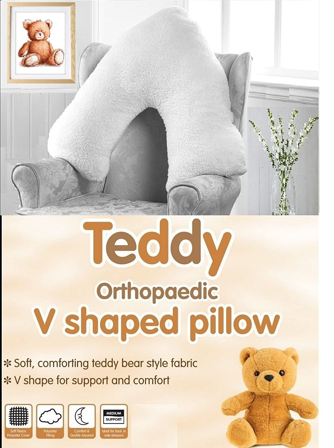 Super soft Teddy Bear Sherpa Fleece Standard & V Shape Orthopedic Nursing Pillow (1 x Standard Teddy Bear Sherpa Pillow) Sleep Easy