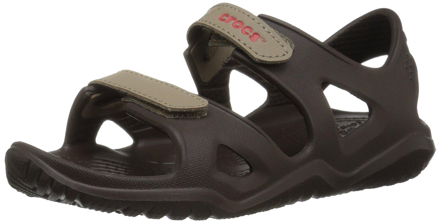 Crocs unisex-kids Swiftwater River Sandal Sandal, espresso/khaki, 9 M US Toddler by Crocs