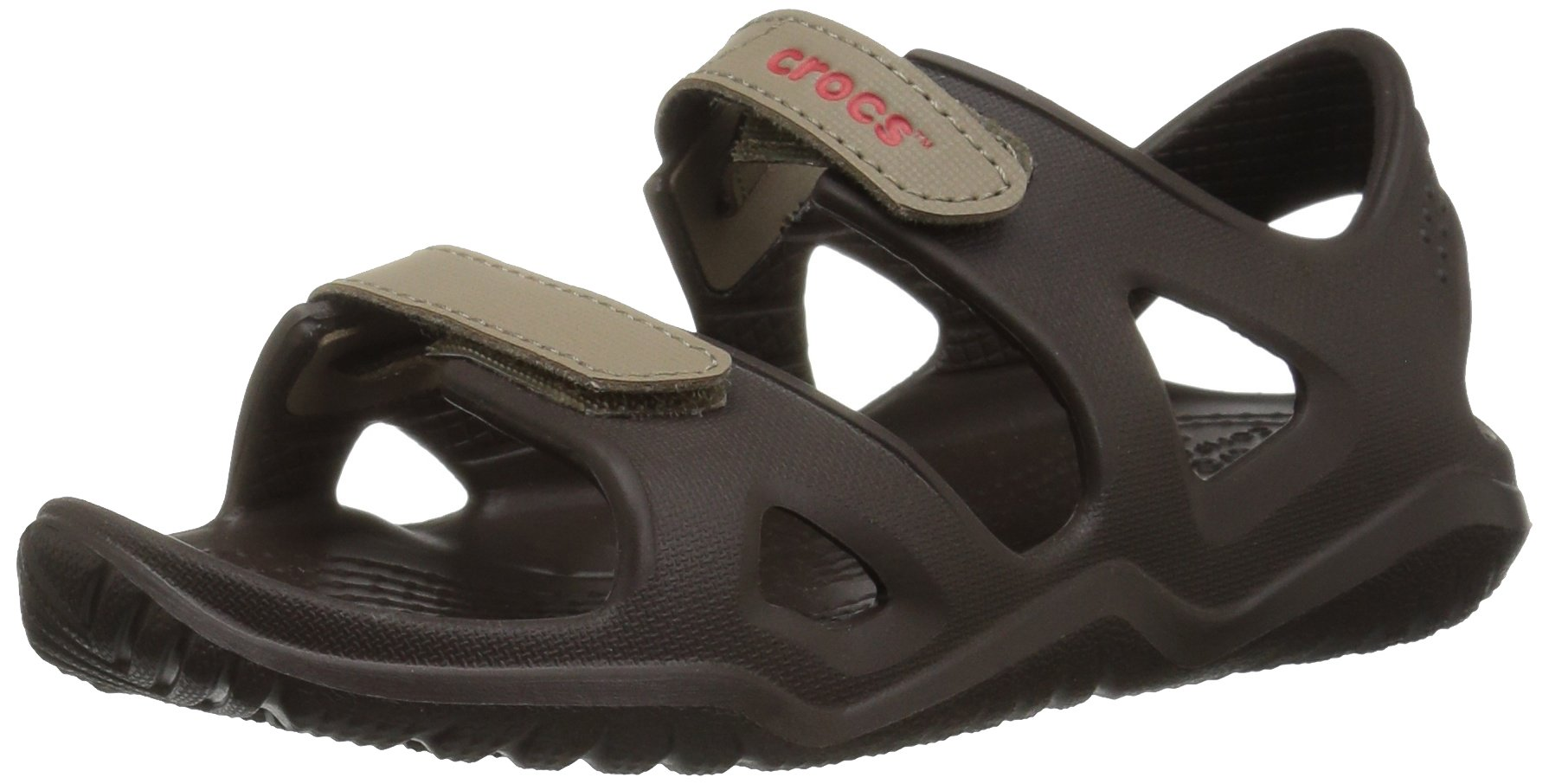 Crocs Unisex-Kids Swiftwater River K Flat Sandal, Espresso/Khaki, 13 M US Little Kid