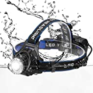 wangcai LED Headlamp, Snorda Super Bright 3 Modes Head Lamp Zoomable Work Headlight Waterproof Flashlight with Rechargeable Batteries for Camping Running Hiking