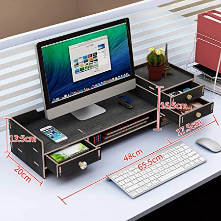 UYASDASFAFGS Bambú 2-tiier Elevador De Monitor,Multimedia ...