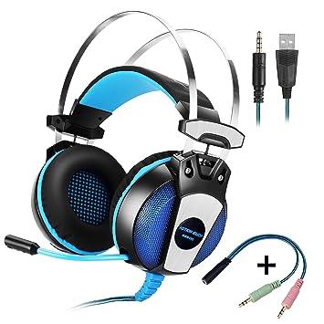 KOTION EACH Auriculares para jueguos de diadema GS500 con micrófono para videojuegos Sistema de Sonido 7.1