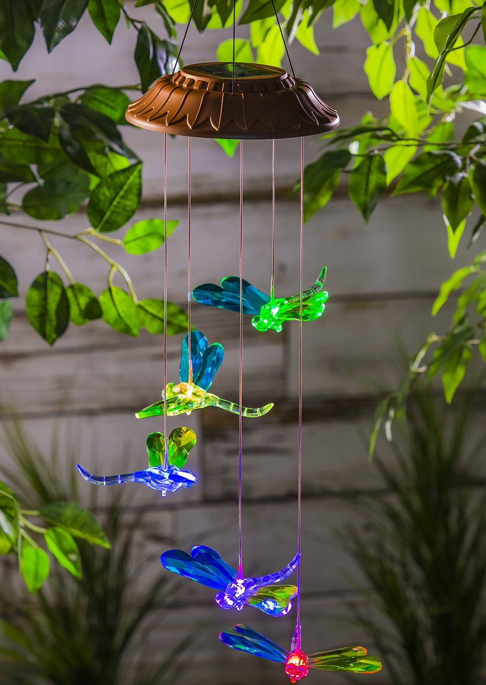 Ivy Home Solar Mobile Wind Bell Color Changing Faceted Wind Chimes for Outdoor Garden Décor Dragonfly