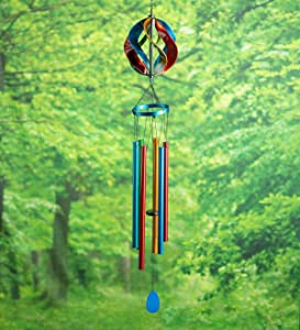 Plow & Hearth Hanging Wind Chimes with Mini Spinner - Ball
