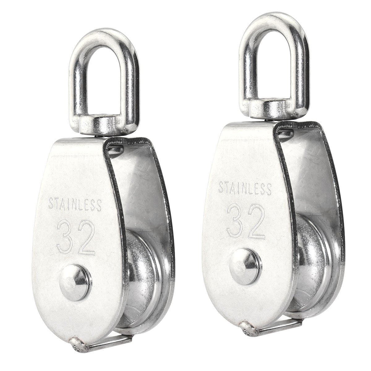 Lind Kitchen 2PCS Lifting Single Pulley Stainless Steel Heavy Duty Single Wheel Swivel Lifting Rope Pulley Block M32