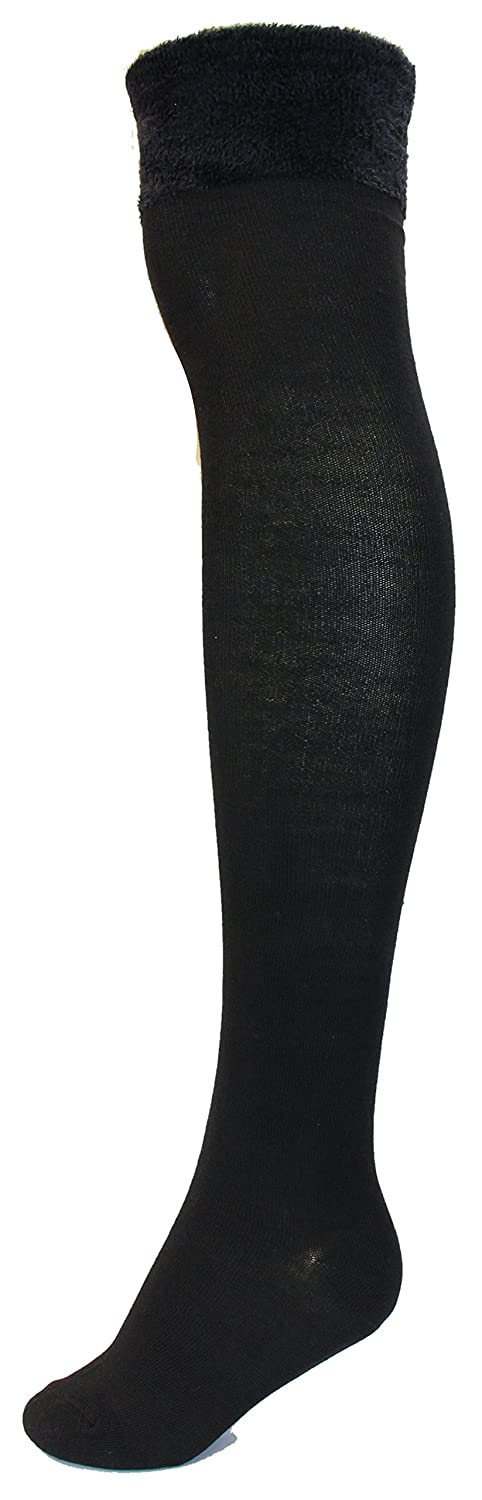ffd7b49ea Sockaholic Women s Thigh High Over The Knee Socks with Furry Cuff (2Pr)  (Black