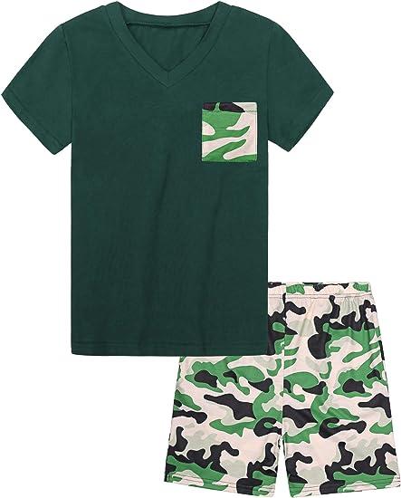 Hawiton Pijama niño de Largo de Camuflaje, Ropa de Dormir para 4-15 años, Camisetas con Bolsillo en el Pecho de Manga Larga y Pantalones 2 Piezas: Amazon.es: Ropa y accesorios