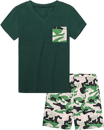 Hawiton Pijama de 100% algodón de Manga Largos para niños,Pijama de 6-16 años,Camiseta Pura y Pantalones de celosía con cordón y Bolsillos Ropa de Dormir 2 Piezas Invierno