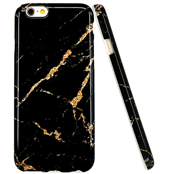 sneakers for cheap c91af e4a06 iPhone 6 Case, iPhone 6S Case, JAHOLAN Black Gold Marble Design Slim  Shockproof Clear Bumper TPU Soft Case Rubber Silicone Cover for Apple  iPhone 6 6s