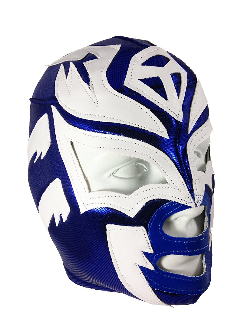 SOMBRA Adult Lucha Libre Wrestling Mask (pro-fit) Costume Wear - Blue/White