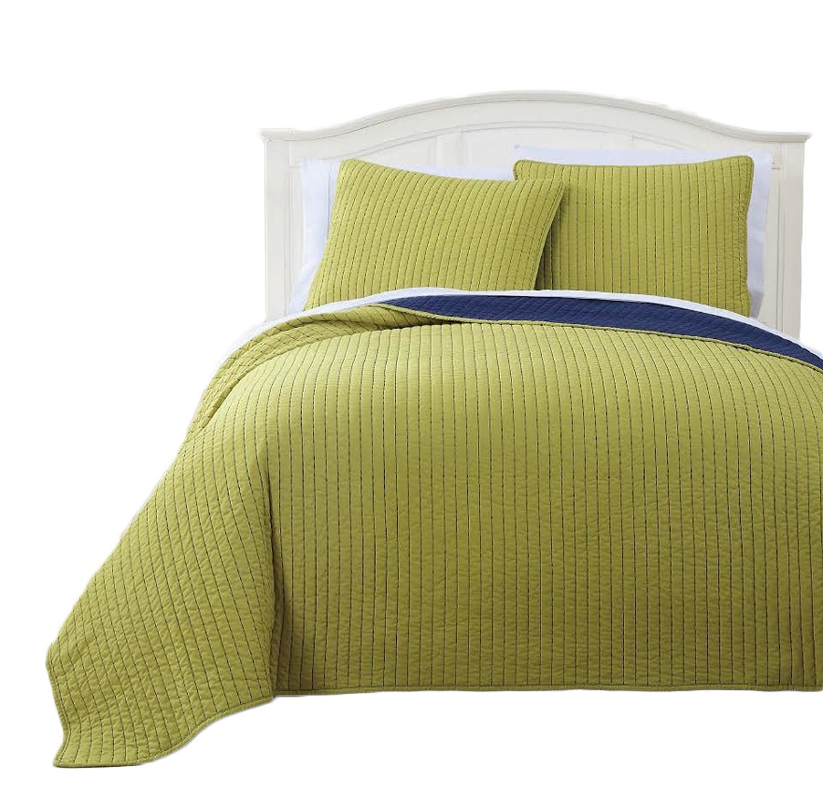 Reversible Modern Project Runway Coverlet, Super Soft Elegant Quilt & Shams Set/Full/Queen - Citron & Navy