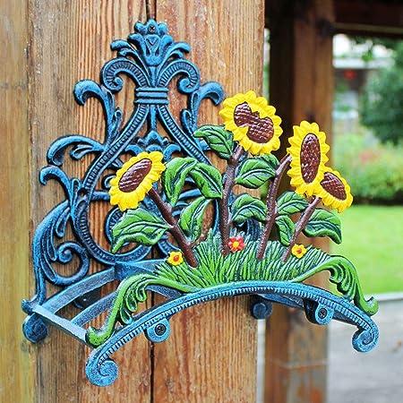 HEMFV Montado en la Pared Carrete de Manguera - Reparto Titular de Aluminio for jardín - al Aire Libre Decorativo Organizador - Jardinería Estante Pared de la decoración del jardín: Amazon.es: Hogar
